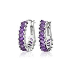 新款 925 純銀長方形紫水晶圈形耳環