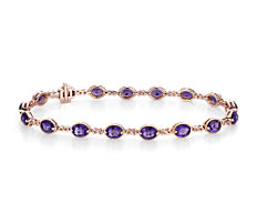 Amethyst Infinity Link Bracelet in 14k Rose Gold (5x4mm)