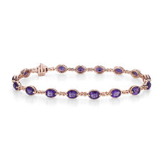 14k 玫瑰金紫水晶無限鏈狀手鍊(5x4毫米)