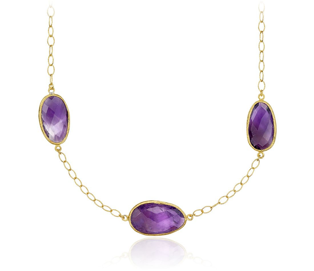 Amethyst Long Necklace in Gold Vermeil