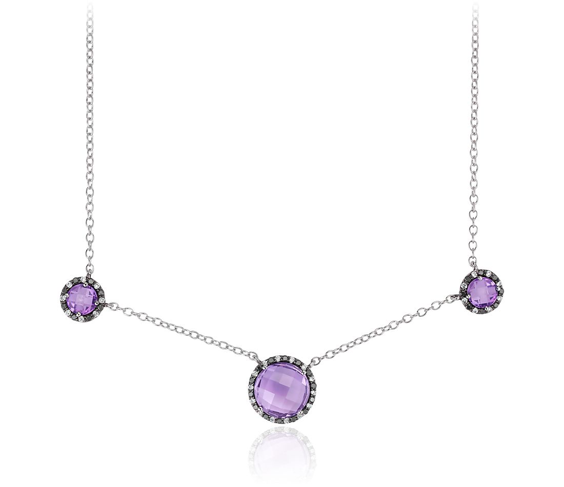 Robert Leser Amethyst and Diamond Halo Necklace in 14k White Gold