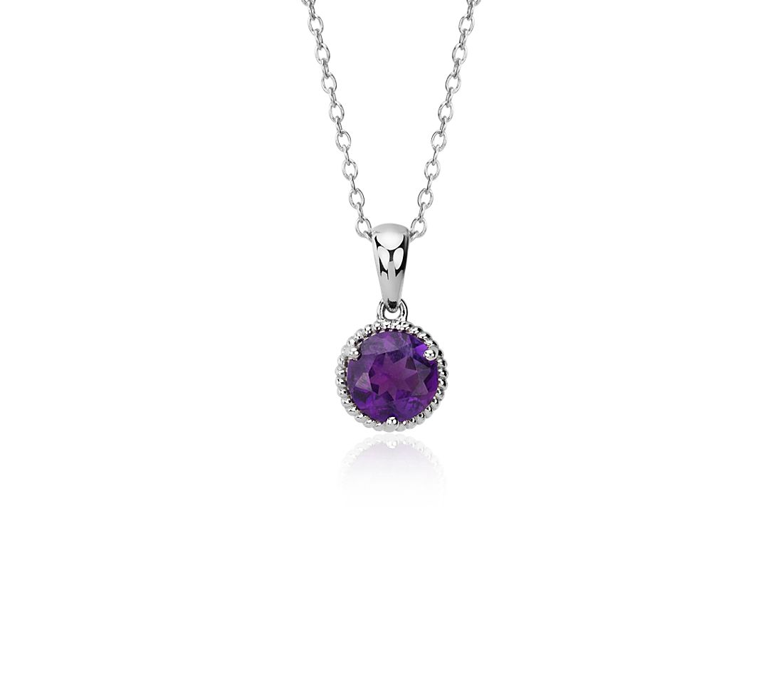 Amethyst Rope Pendant in Sterling Silver (7mm)