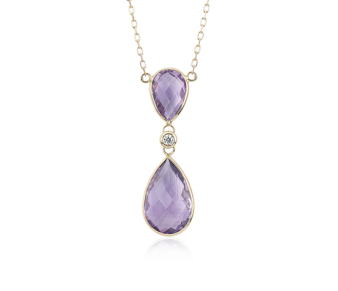 Amethyst Pear Drop And Diamond Necklace In 14k Yellow Gold