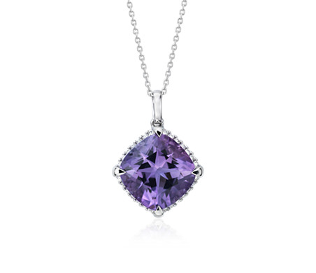 Cushion-Cut Amethyst Diamond Halo Pendant in 14k White Gold (13mm)