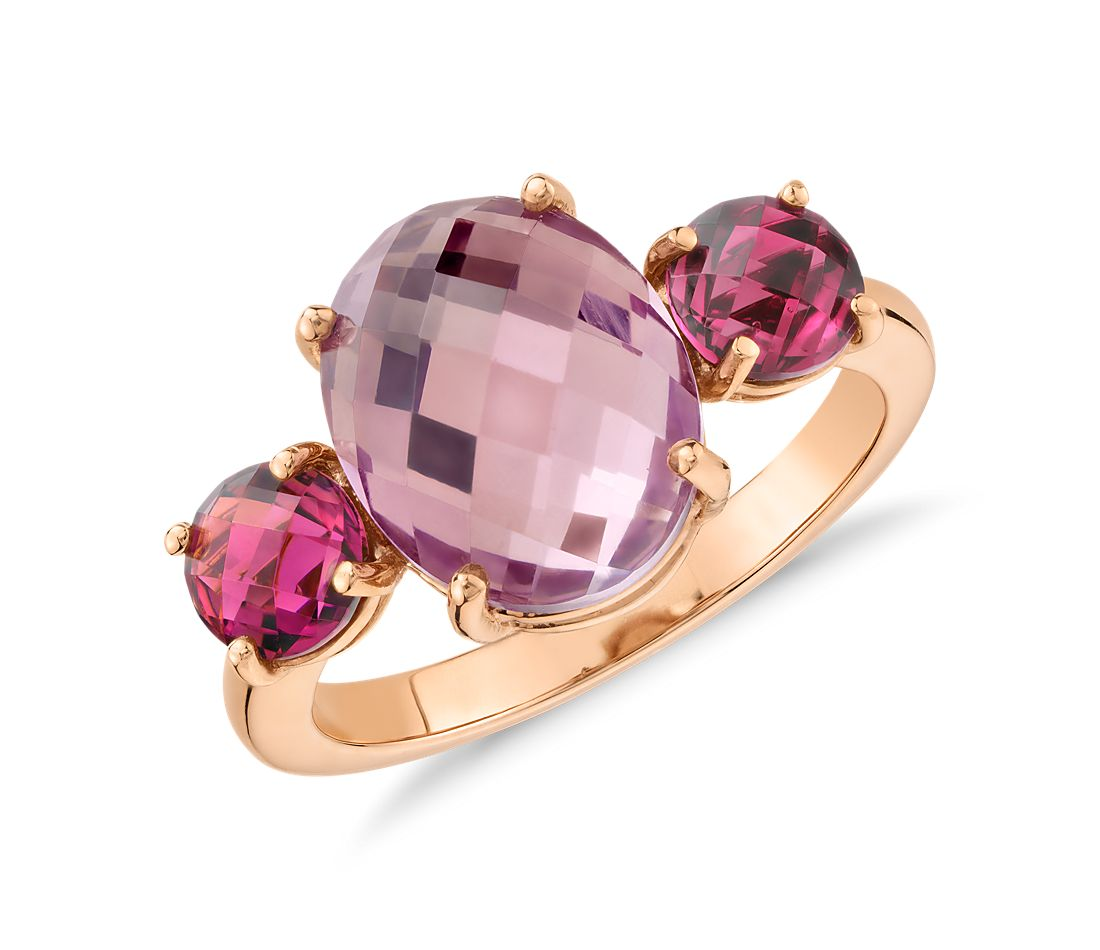 Amethyst And Pink Tourmaline Ring In 14k Rose Gold 11x9mm