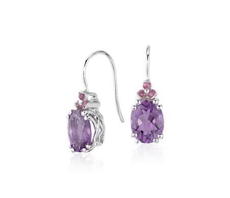 925 纯银紫水晶与粉红碧玺吊式耳环<br>(9x7毫米)