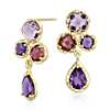 Lavender Amethyst and Rhodolite Garnet Drop Earrings in 14k Yellow Gold