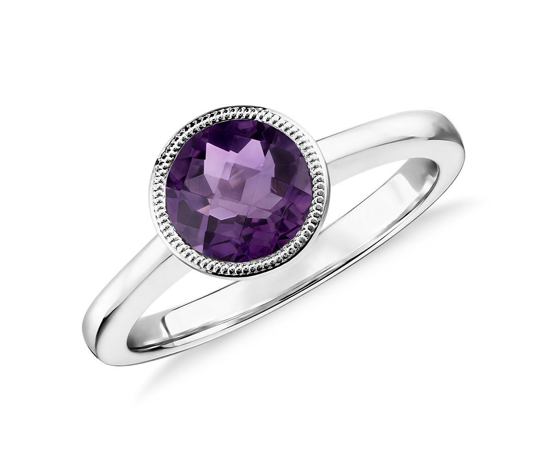 Amethyst Round Milgrain Ring in Sterling Silver (7mm)