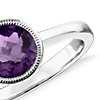 Amethyst Round Milgrain Ring in Sterling Silver (7mm)