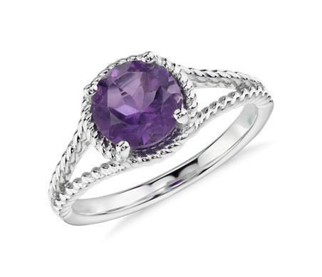Amethyst Rope Ring in Sterling Silver (7mm)