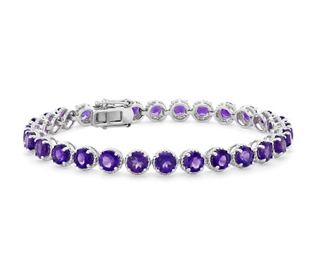 Amethyst Round Rope Bracelet in Sterling Silver (5mm)