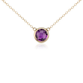 Amethyst Solitaire Necklace in 14k Yellow Gold