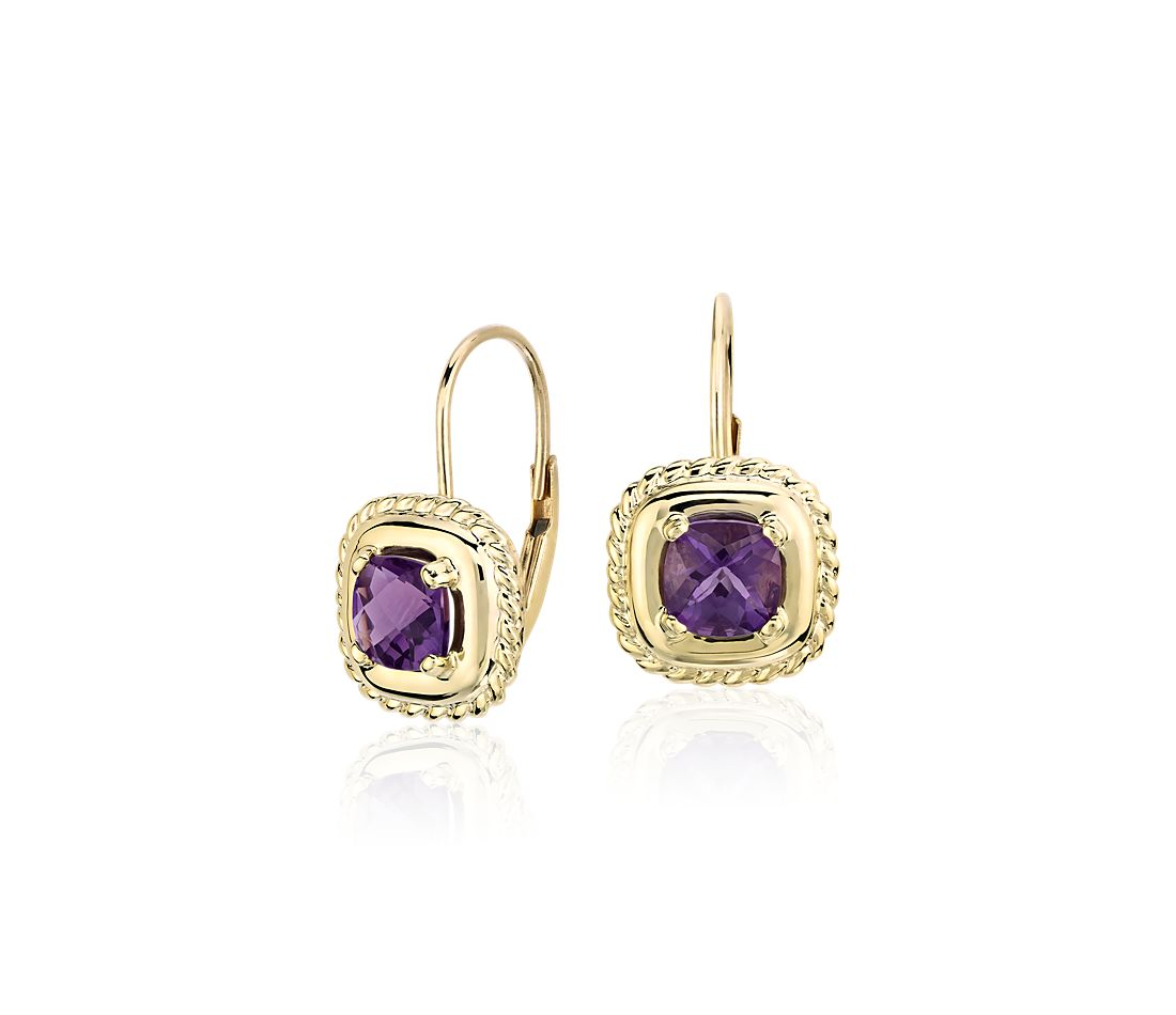 Amethyst Square Roped Drop Earrings in 14k Yellow Gold (5x5mm)