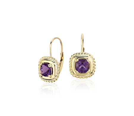 Amethyst Square Roped Drop Earrings In 14k Yellow Gold 5x5mm