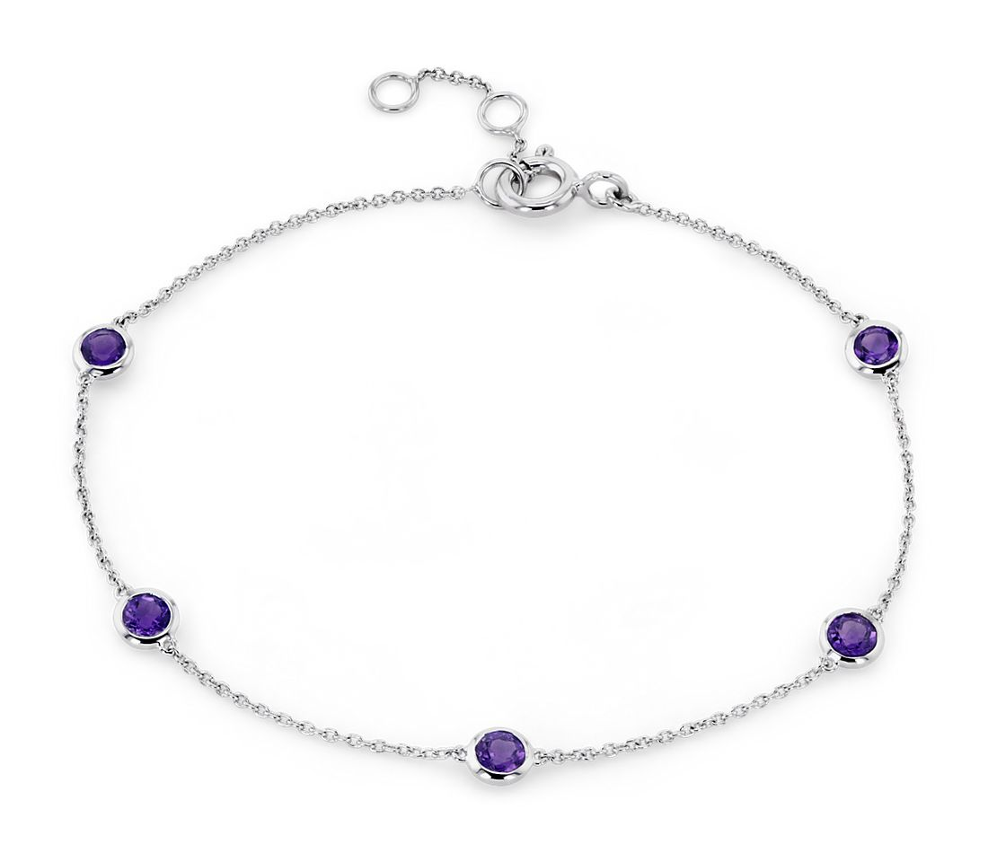 Amethyst Stationed Bezel-Set Bracelet in 14k White Gold (3mm)
