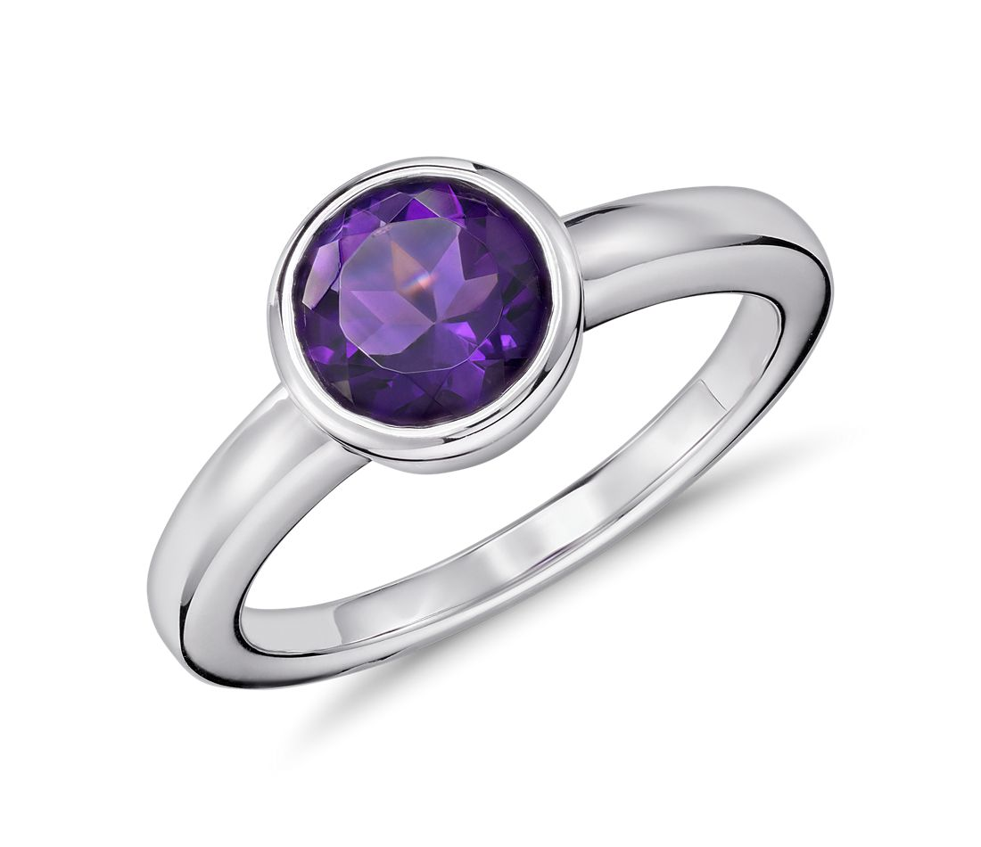 Amethyst Round Bezel-Set Ring in Sterling Silver (7mm)