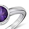 Amethyst Round Bezel-Set Ring in Sterling Silver (7mm)