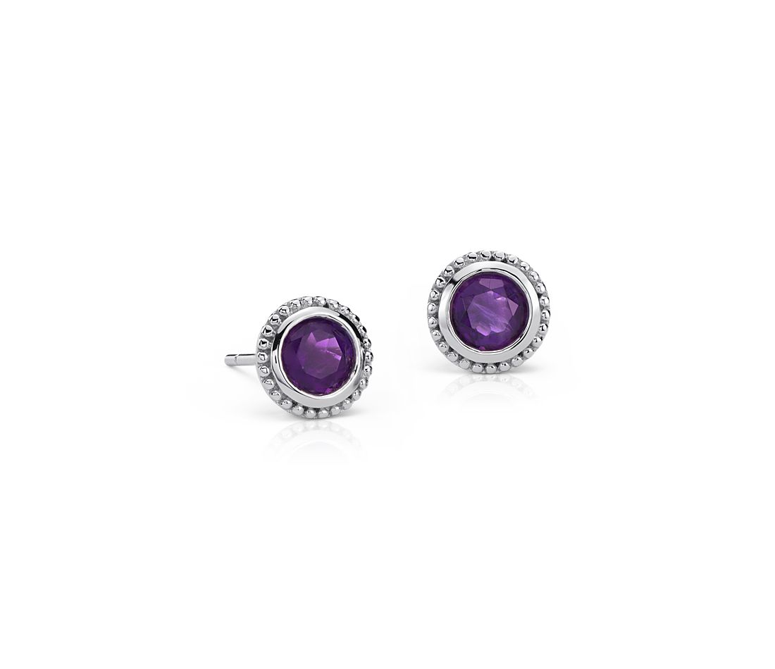 Amethyst Milgrain Stud Earrings in Sterling Silver (5mm)