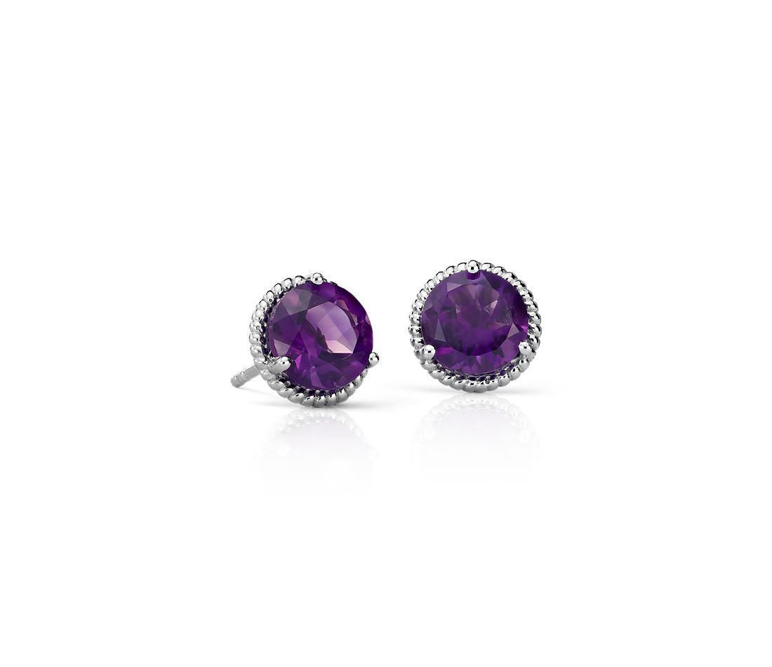 Amethyst Rope Stud Earrings In Sterling Silver 7mm