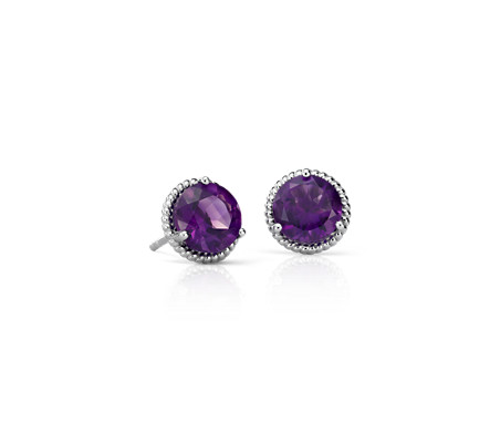 village stud earrings amethyst the goldsmith
