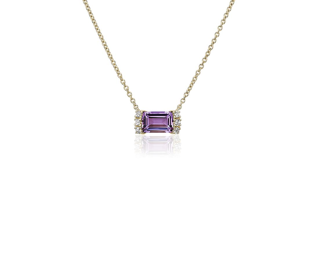 Amethyst and White Topaz Neon-Pop  Necklace in 18k Yellow Gold
