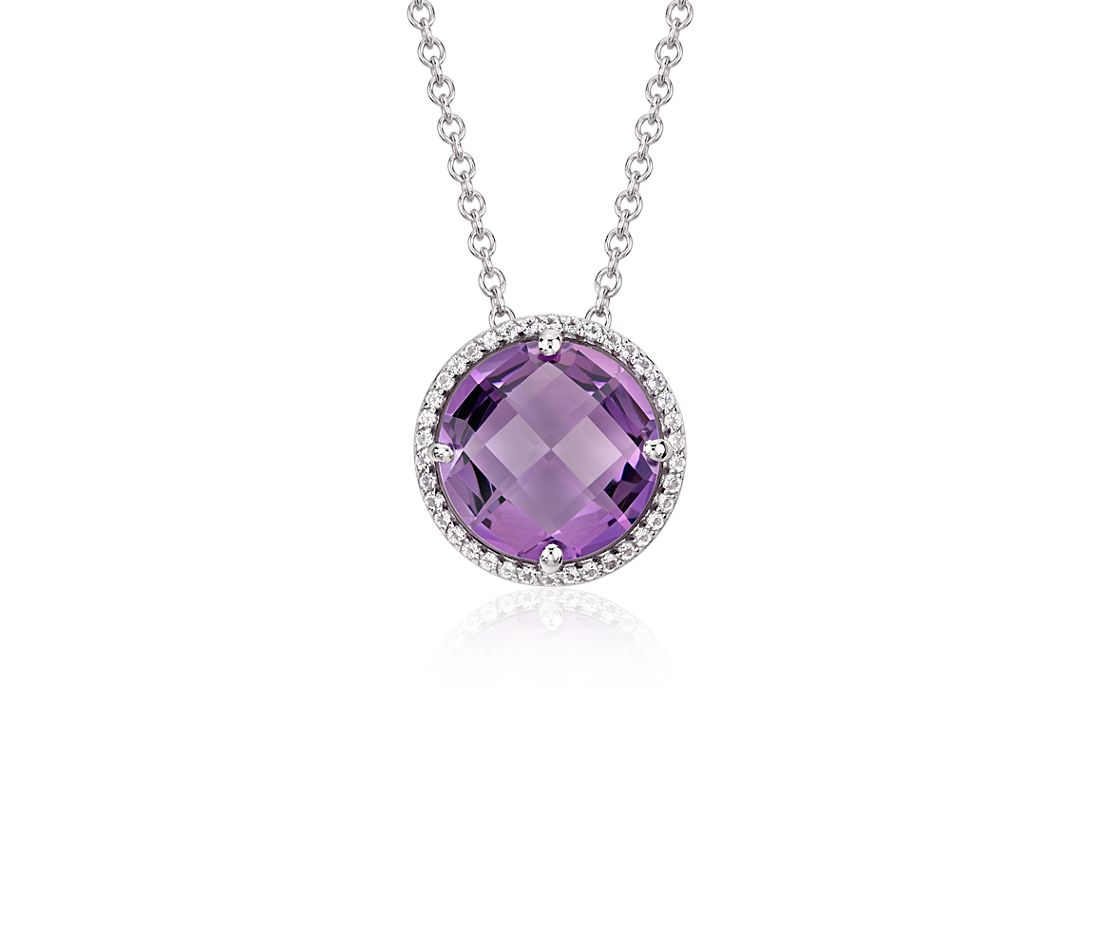 Amethyst and White Topaz Halo Necklace in Sterling Silver (12mm)