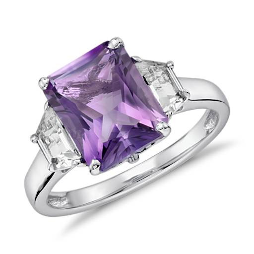 Amethyst And White Topaz Radiant Cut Ring In Sterling