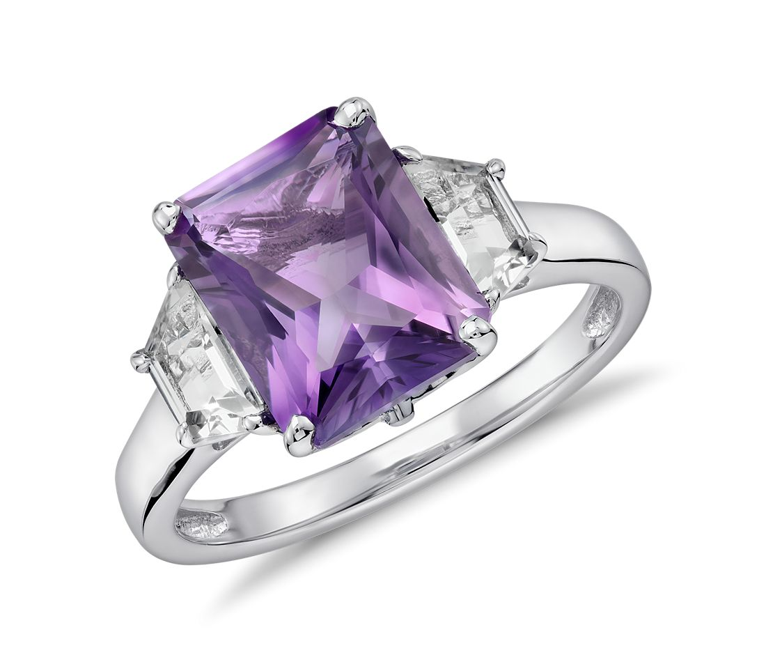 Amethyst and White Topaz Radiant Cut Ring in Sterling Silver (10x8mm)