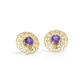 NEW Angela George Amethyst Woven Halo Stud Earrings in 18k Yellow Gold (5mm)