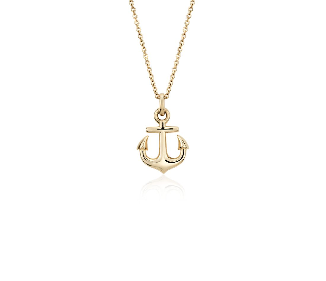 Petite Anchor Pendant in 14k Yellow Gold