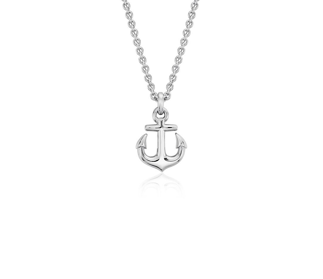 Petite Anchor Pendant In Sterling Silver