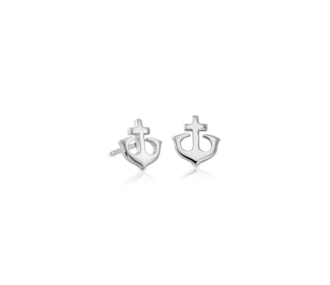 Anchor Stud Earrings in Sterling Silver