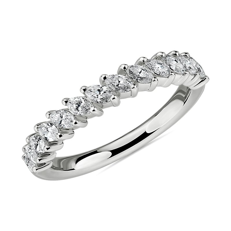 Angled Marquise Diamond Wedding Ring in 14k White Gold (3/4 ct. t