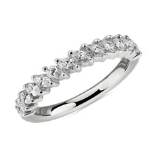 Angled Marquise Diamond Wedding Ring in 14k White Gold (3/4 ct. tw.)