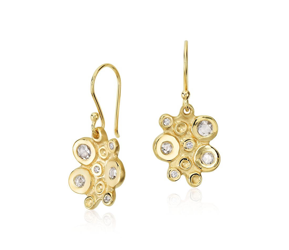 Anne Sportun Diamond Bubble Cluster Drop Earring in 18k Yellow Gold