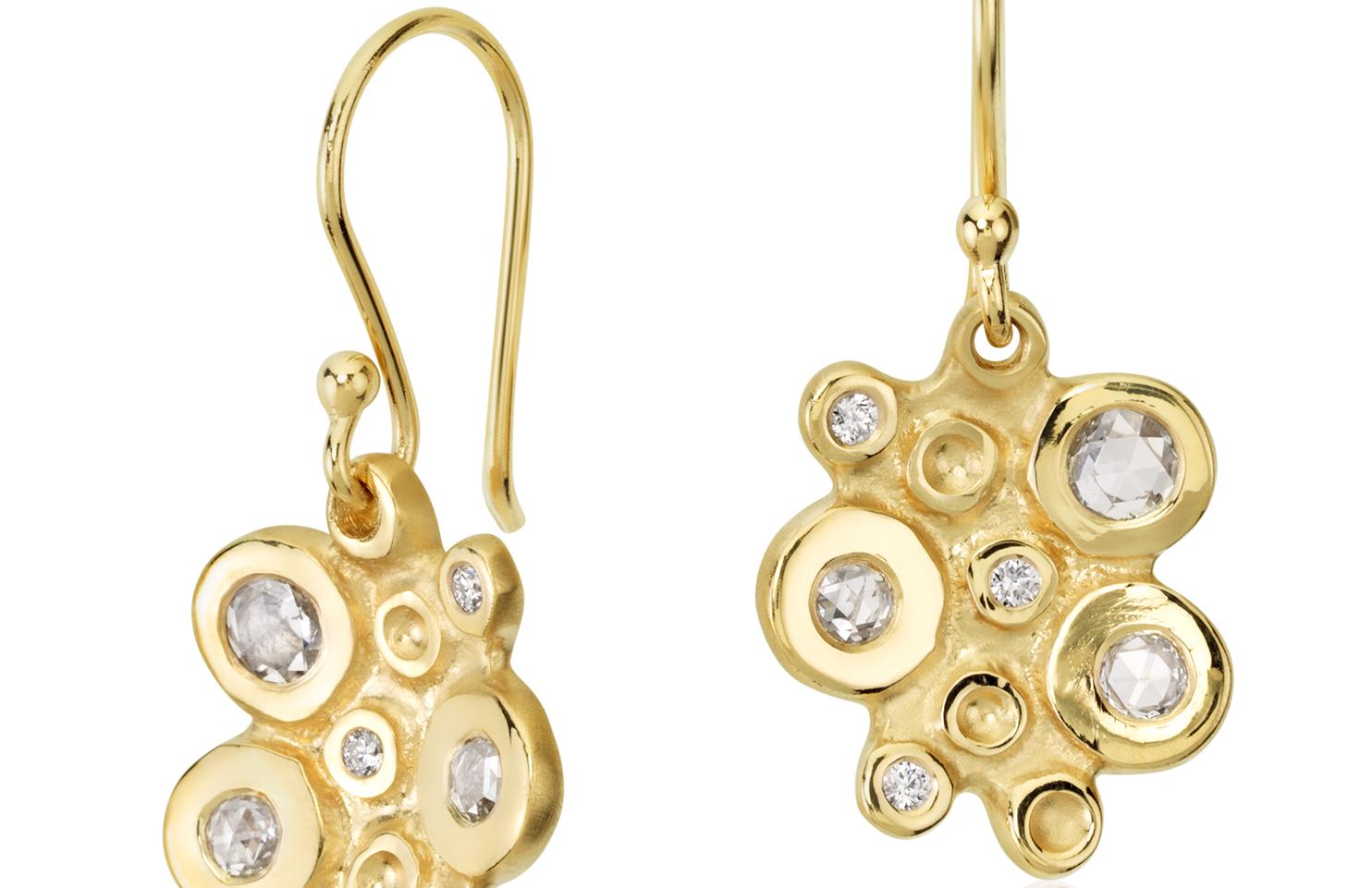 Aretes colgantes con racimo de diamante en forma de burbuja de Anne Sportun en oro amarillo de 18k