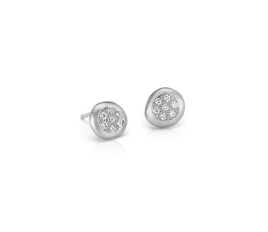 Diamond Dot Earring in 14k White Gold