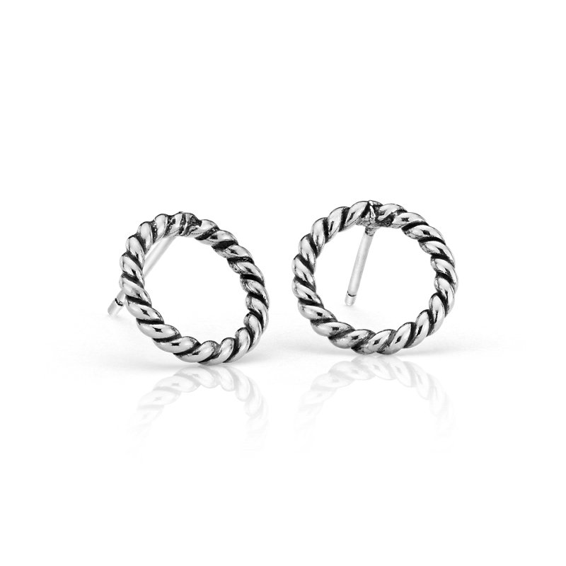 Antique Rope Circle Stud Earrings in Sterling Silver