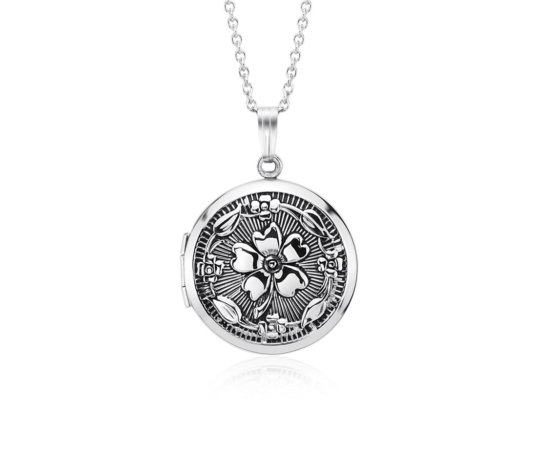 Antiqued Round Floral Locket In Sterling Silver Blue Nile
