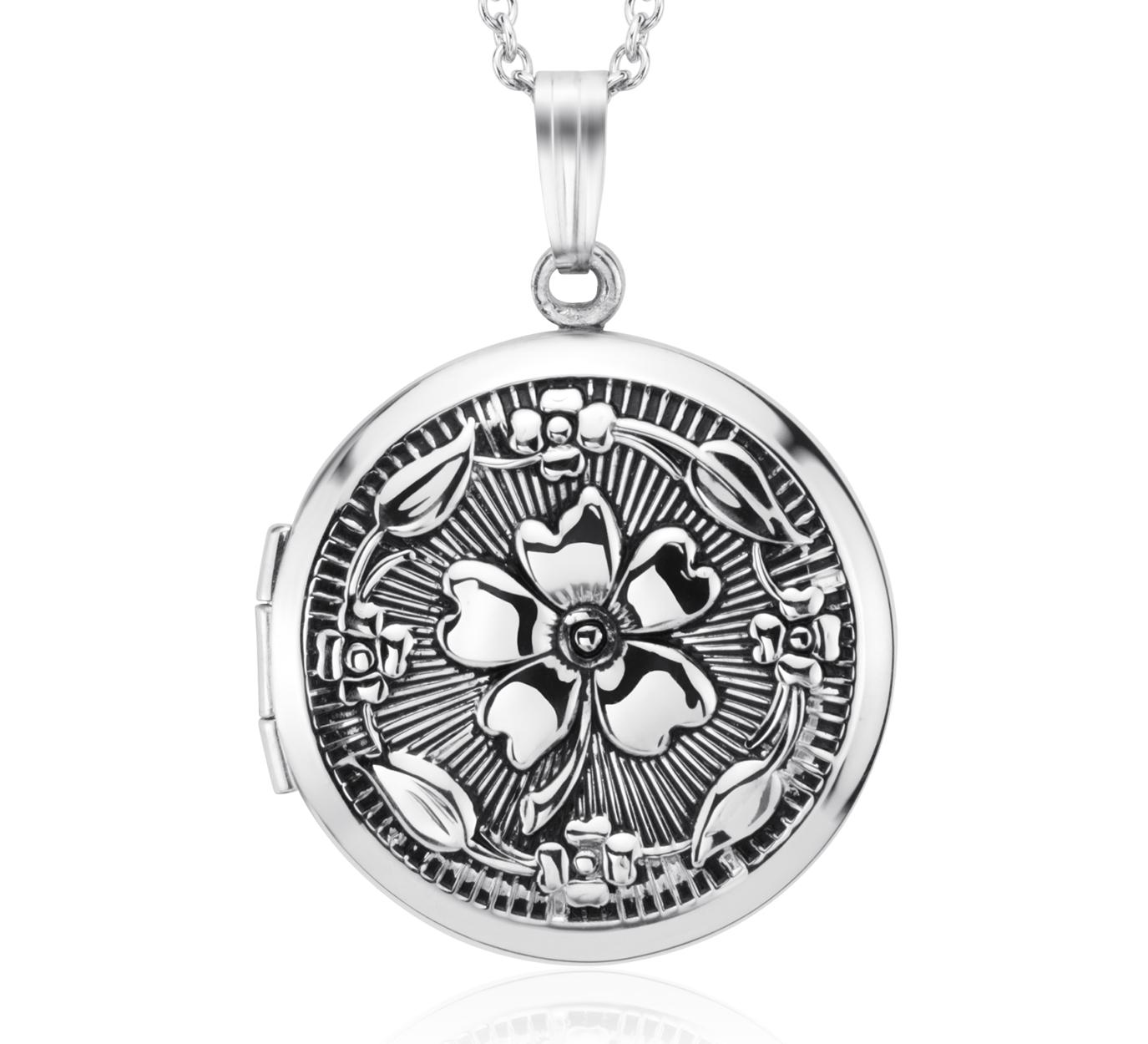 Médaillon floral rond antique en argent sterling