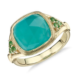 Frances Gadbois Aqua Chalcedony Cushion Cut Cocktail Ring in 14k Yellow Gold (10mm)