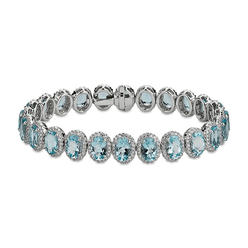 Aquamarine and Diamond Eternity Bracelet in 18k White Gold