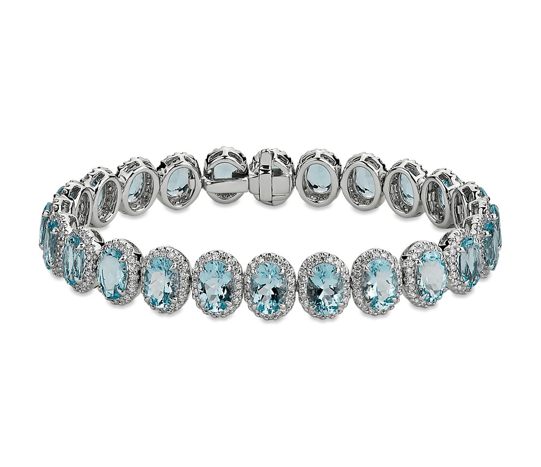 Aquamarine and Diamond Eternity Bracelet in 18k White Gold