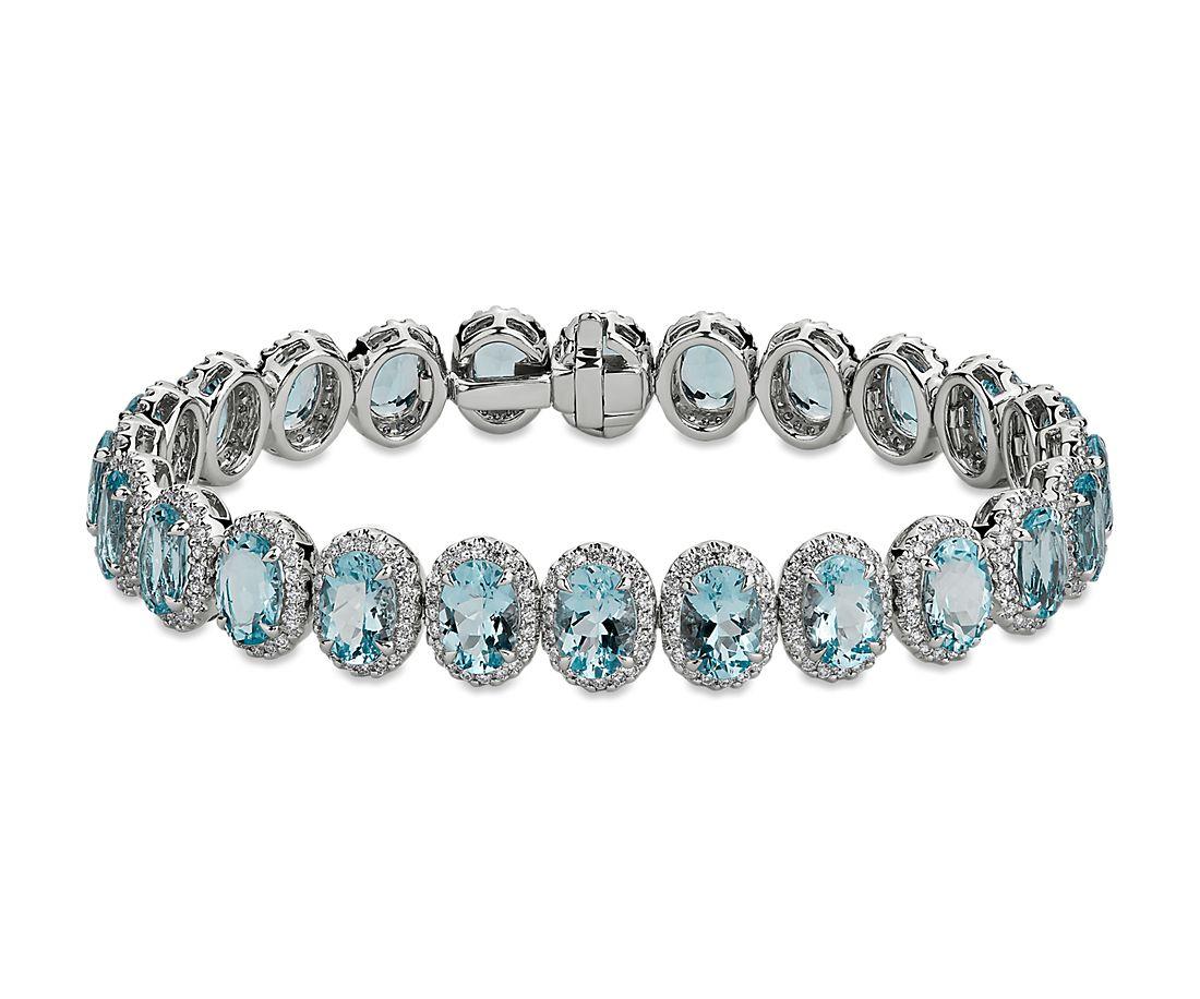 Brazalete de eternidad de aguamarinas y diamantes en oro blanco de 18 k