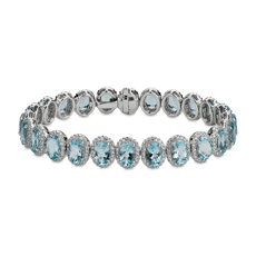 NEW Aquamarine and Diamond Eternity Bracelet in 18k White Gold