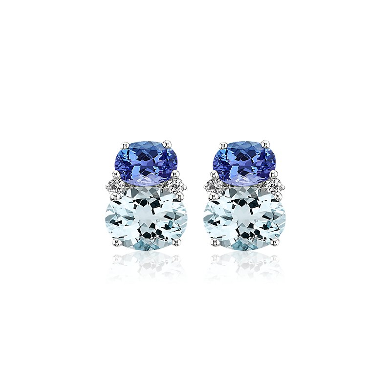 Aquamarine and Tanzanite Stud Earrings in 14k White Gold