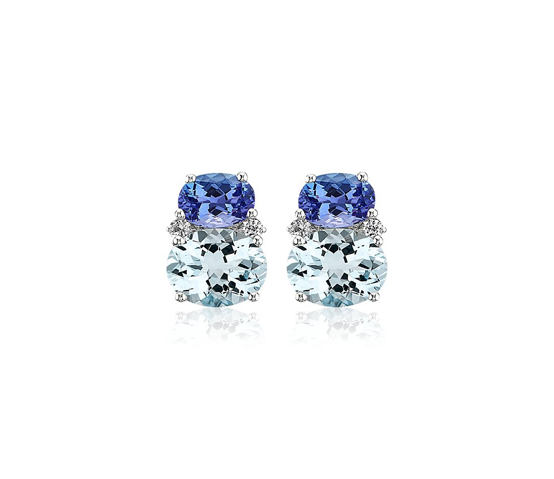 Aquamarine and Tanzanite Stud Earrings in 14k White Gold