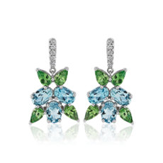 Aquamarine and Tsavorite Cluster Drop Earrings in 18k White Gold