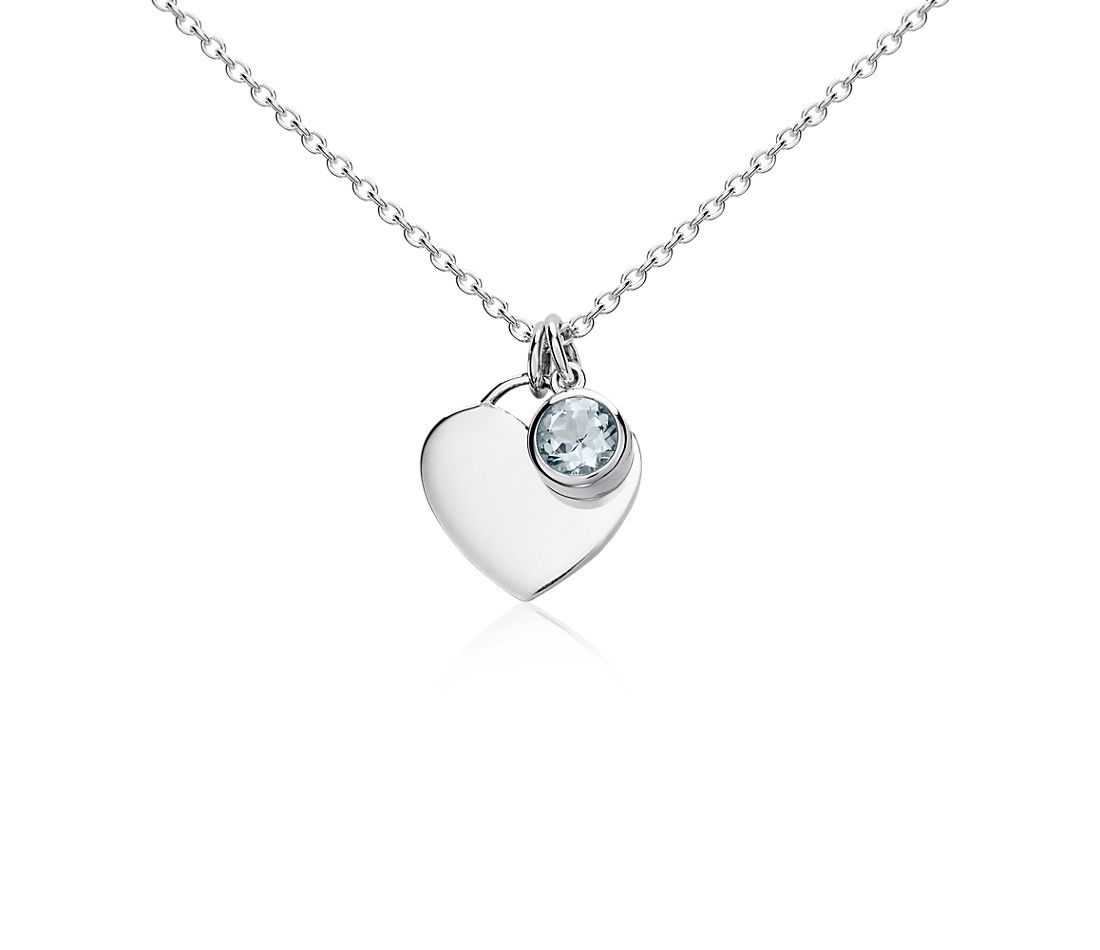 Aquamarine Birthstone Heart Pendant in Sterling Silver (March) (4.5mm)