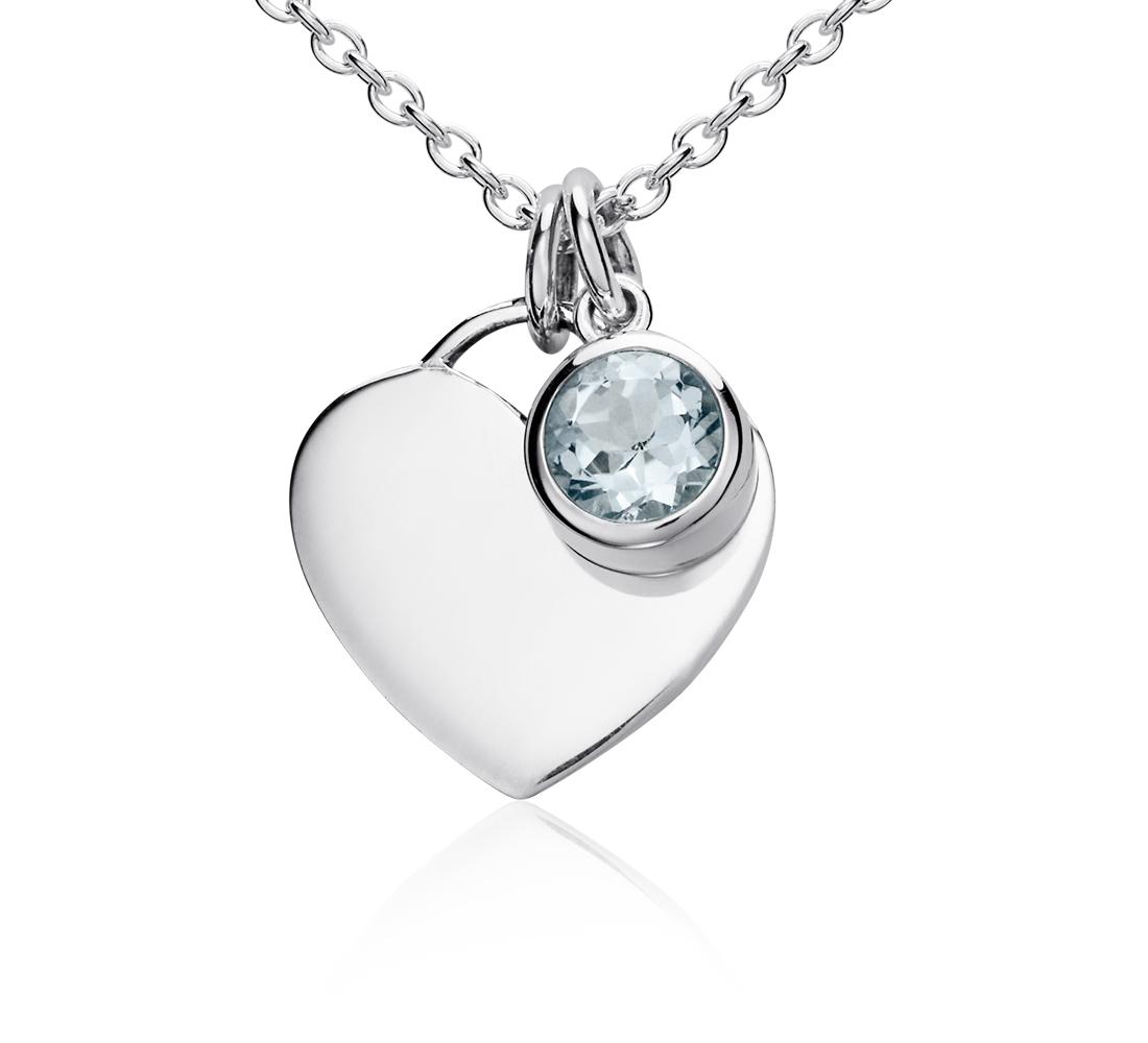 Colgante con forma de corazón para piedra natal de aguamarina en plata de ley (Marzo) (4,5mm)